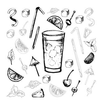 Ensemble de vecteurs de cocktails populaires d'alcool avec des tranches de fruits et décoration de cocktails