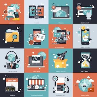 Ensemble De Vecteurs Commerciaux Et Technologiques Vecteur Premium