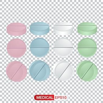 Ensemble de vecteurs de comprimés et de pilules standard