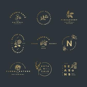 Ensemble de vecteurs de conception de logo botanique
