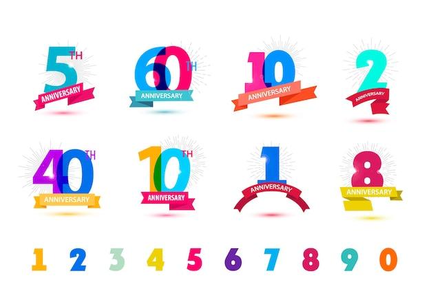 Ensemble de vecteurs de conception de numéros d'anniversaire coloré transparent avec des ombres sur fond blanc