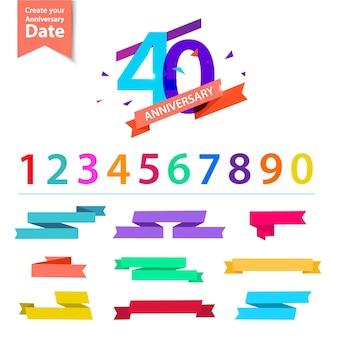 Ensemble de vecteurs de conception de numéros d'anniversaire créez vos propres compositions d'icônes avec la date de rubans