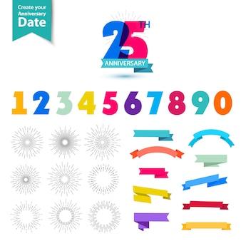 Ensemble de vecteurs de conception de numéros d'anniversaire créez vos propres compositions d'icônes