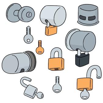 Ensemble de vecteurs de couvercle de serrure de bouton de porte