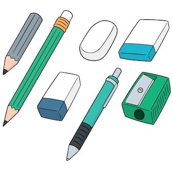 Ensemble de vecteurs de crayon, gomme et taille-crayon