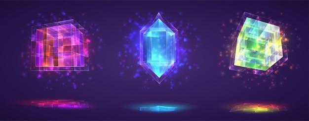 Ensemble de vecteurs de cristaux magiques. pierre précieuse au fini arc-en-ciel brillant