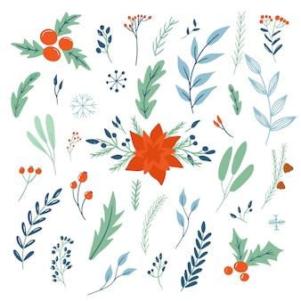 Ensemble de vecteurs de décorations florales de noël. bundle de fleurs, branches et pommes de pin. . illustration des enfants. collection tendance de scrapbooking.