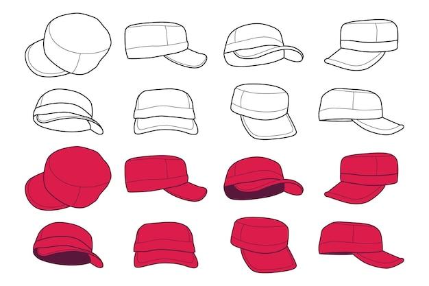 Ensemble de vecteurs de dessin animé de casquettes isolé sur fond blanc.
