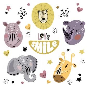 Ensemble de vecteurs de dessin animé fait face à des animaux d'afrique avec lettrage