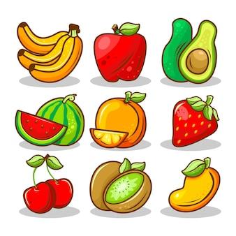 Ensemble de vecteurs de dessin animé de fruits frais et de tranches de fruits