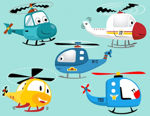 Ensemble de vecteurs de dessin animé souriant hélicoptères