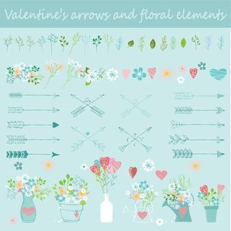Ensemble de vecteurs dessinés à la main floral de la saint-valentin. illustration vectorielle. parfait pour la saint-valentin, les autocollants, l'anniversaire, enregistrez l'invitation à la date.