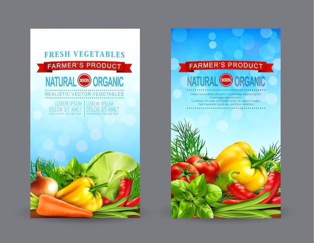 Ensemble de vecteurs de deux modèles de flyers verticaux avec des légumes réalistes pour le marché de producteurs