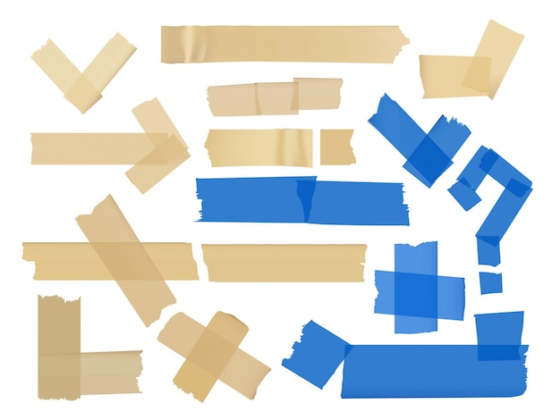 Ensemble de vecteurs de différents fragments sur des rubans adhésifs isolés sur blanc