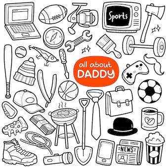 Ensemble de vecteurs doodle activités et objets liés à papa tels que la vie quotidienne des sports de passe-temps, etc.