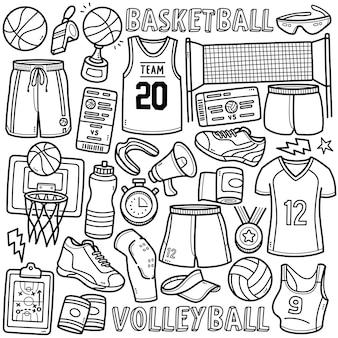 Ensemble de vecteurs doodle équipements de basket-ball et de volley-ball tels que des chaussures uniformes, un filet de balle, etc.