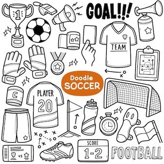 Ensemble de vecteurs de doodle équipements liés au football tels que le score de but du maillot de football, etc.