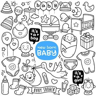 Ensemble de vecteurs doodle objets liés au nouveau-né tels que les vêtements de sucette pour bébé, etc.