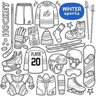Ensemble de vecteurs de doodle sports d'hiver tels que le hockey, le snowboard, le ski, etc.