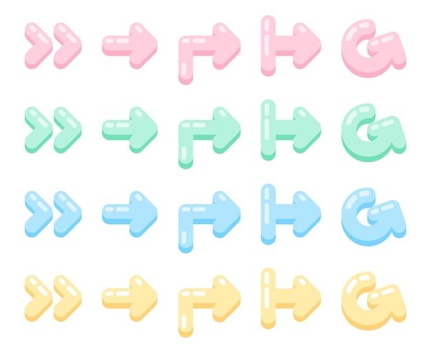 Ensemble de vecteurs d'éléments doux de style plat de flèches de tons pastel mignons dans une forme différente