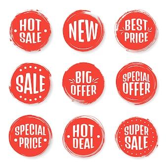 Ensemble de vecteurs d'étiquettes colorées modernes pour les salutations et la promotion. garantie de qualité premium, best-seller, meilleur choix, vente, offre spéciale. arrière-plan transparent.