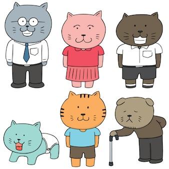 Ensemble de vecteurs de la famille de chat