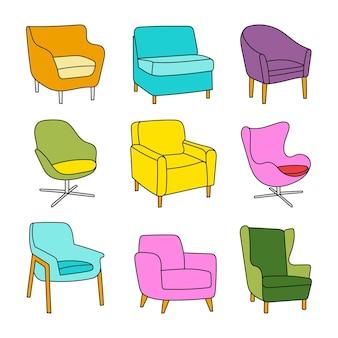 Ensemble de vecteurs de fauteuils colorés dans un style dessiné à la main sur blanc. éléments pour la conception, les catalogues, le site de meubles
