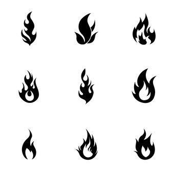 Ensemble de vecteurs de feu. une illustration simple en forme de feu, des éléments modifiables, peut être utilisée dans la conception de logo