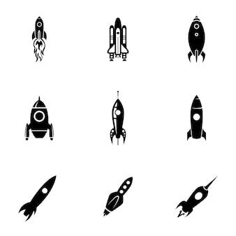 Ensemble de vecteurs de fusée. une illustration simple en forme de fusée, des éléments modifiables, peut être utilisée dans la conception de logo