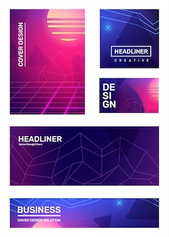 Ensemble de vecteurs d'illustration abstraite rétro rose et bleu créative avec forme de grille néon