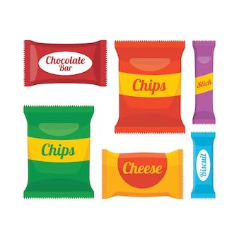Ensemble de vecteurs d'illustration d'emballage dessin animé snack
