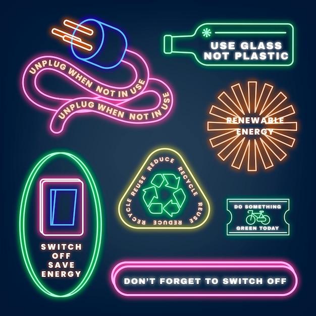 Ensemble de vecteurs d'illustration d'environnement d'enseigne au néon, sauvez notre planète