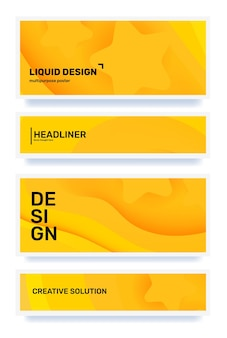 Ensemble de vecteurs d'illustration de style coupé papier horizontal abstrait jaune créatif avec en-tête dans le cadre
