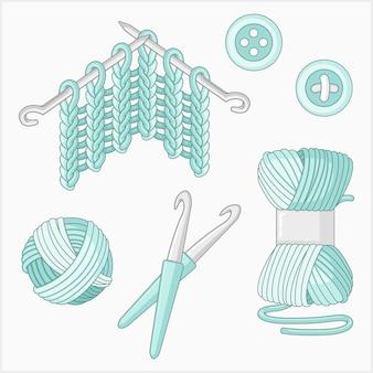 Ensemble de vecteurs illustrés à tricoter