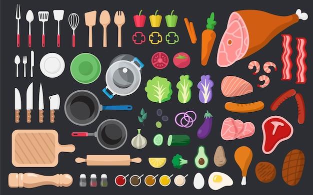 Ensemble de vecteurs ingrédients et outils de cuisine