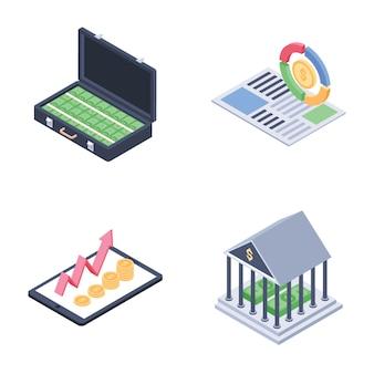 Ensemble de vecteurs isométriques pour les tendances mondiales, la collecte de fonds et les tendances financières