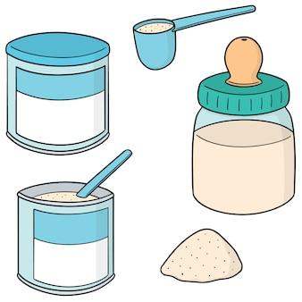 Ensemble de vecteurs de lait en poudre