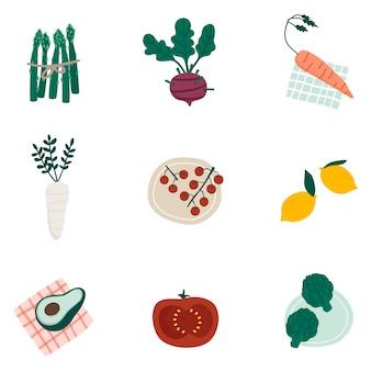 Ensemble de vecteurs de légumes bio coloré