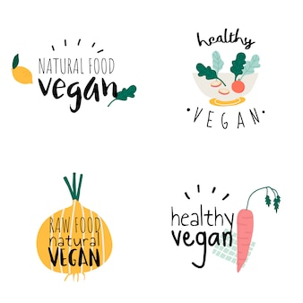 Ensemble de vecteurs de logo végétalien sain