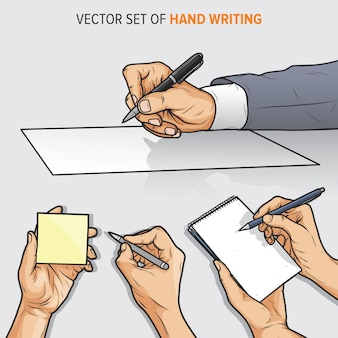 Ensemble de vecteurs de la main qui écrit sur papier, bloc-notes et pense-bête