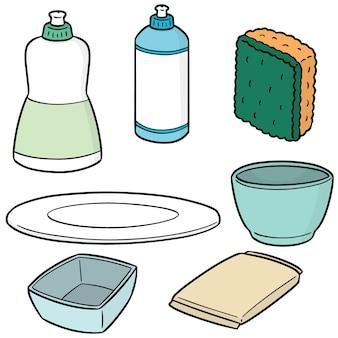 Ensemble de vecteurs de matériel de vaisselle