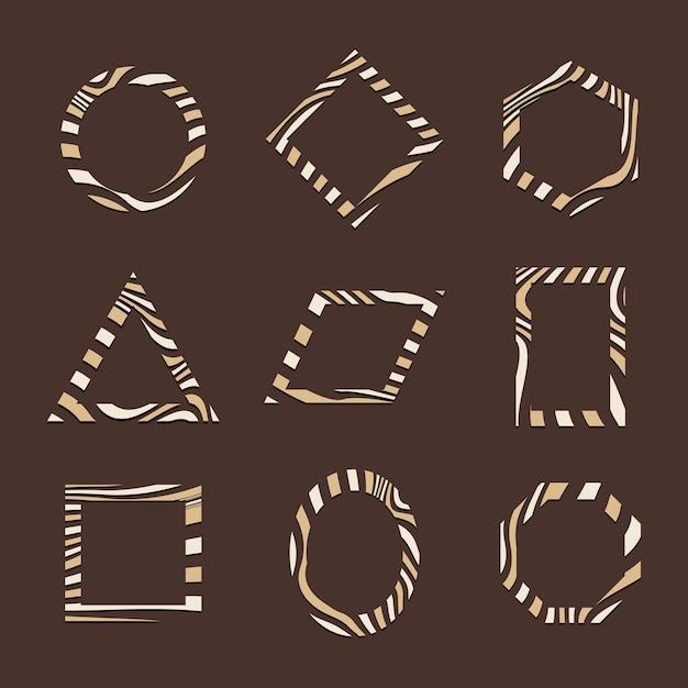 Ensemble de vecteurs de modèle de badge abstrait marron