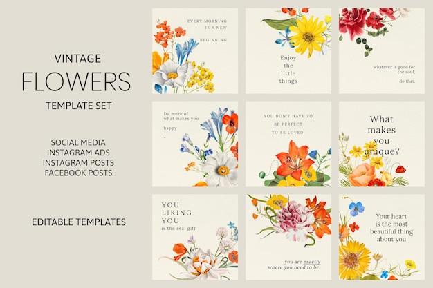 Ensemble de vecteurs de modèle de citation florale de printemps, remixé à partir d'œuvres d'art du domaine public