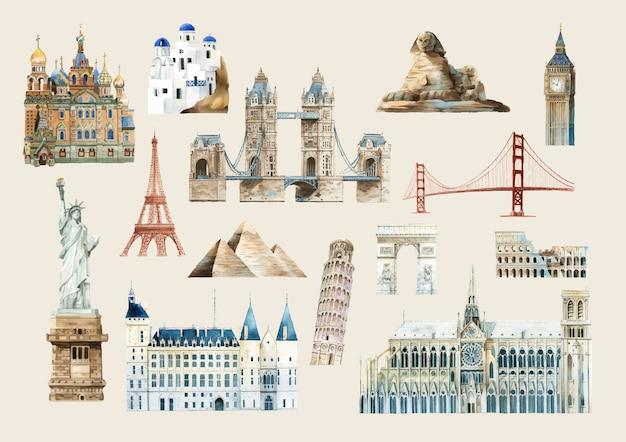 Ensemble de vecteurs de monuments célèbres