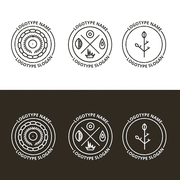 Ensemble de vecteurs de nature et logo itinérant