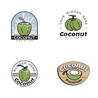 Ensemble de vecteurs de noix de coco logo icône