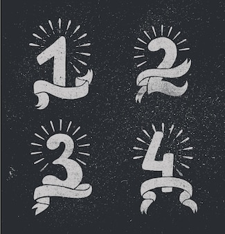 Ensemble de vecteurs de numéros d'anniversaire conçoivent des compositions d'icônes 1 2 3 4 avec des rubans