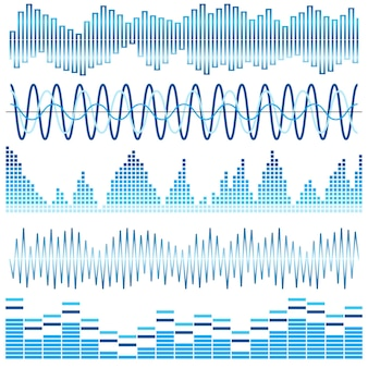 Ensemble de vecteurs d'ondes sonores bleues. égaliseur audio. ondes sonores et audio isolées sur fond blanc.