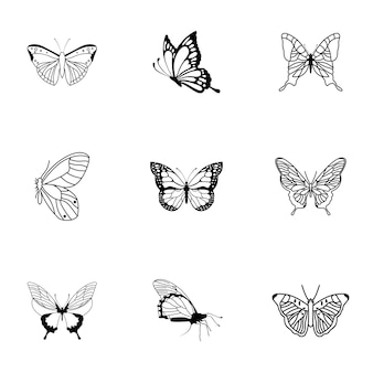 Ensemble de vecteurs de papillon. une illustration simple en forme de papillon, des éléments modifiables, peut être utilisée dans la conception de logo