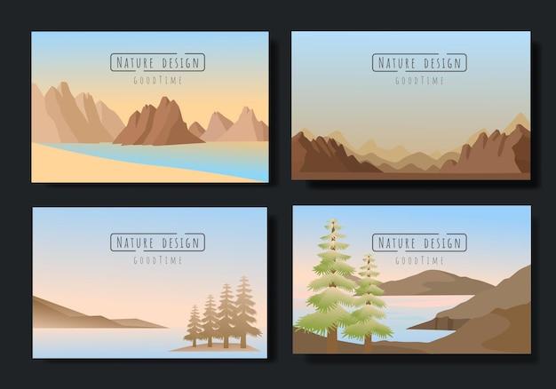 Ensemble de vecteurs de paysages, style plat. les papiers peints naturels sont un concept minimaliste et polygonal.